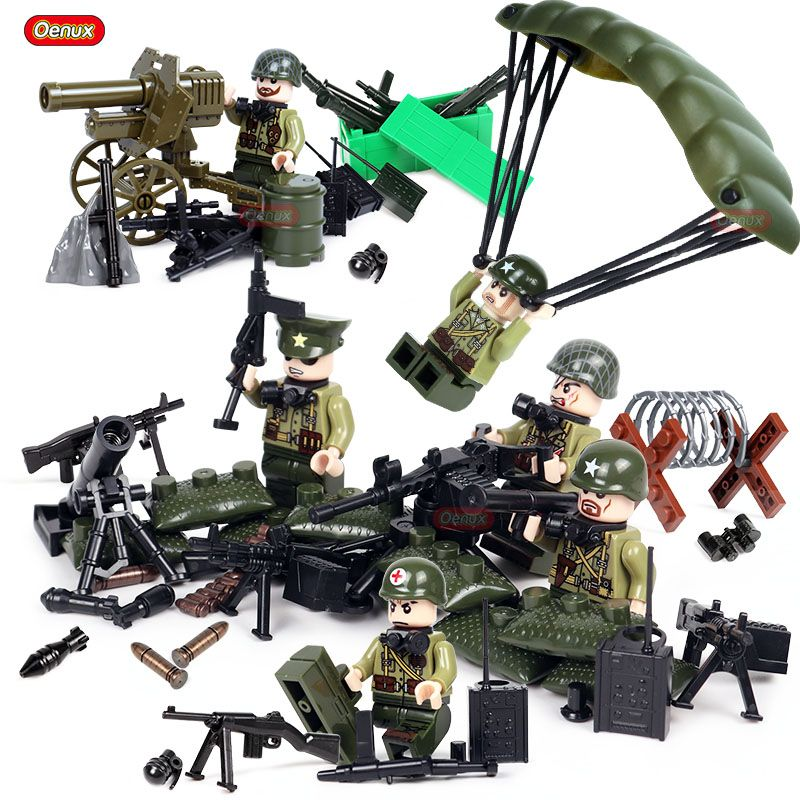 Oenux WW2 The Pacific War Military Building Block USA Army Soldiers Figures With Weapons Model Block Brick MOC Toy For Boys Gift
