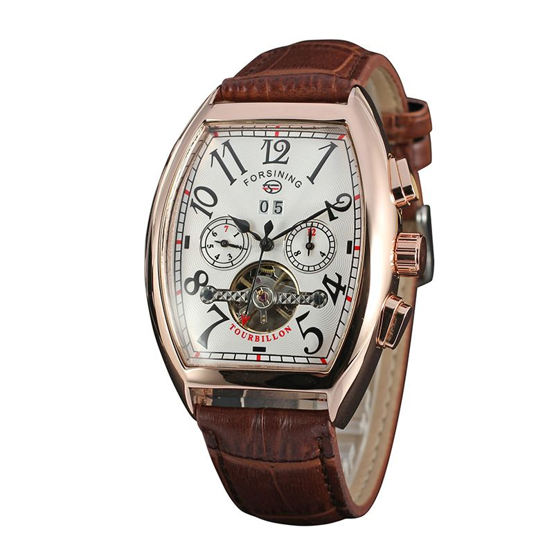 FORSINING Auto Men's Wristwatch Retro Vintage Tonneau Rose Gold Case Relogio Tourbillon Male Clock Date Day Mechanical Watch