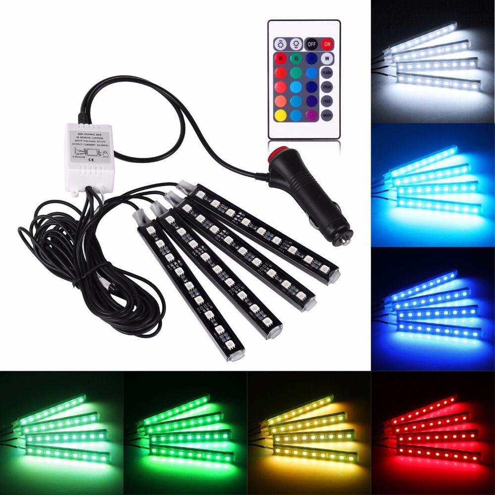 4pcs Car RGB LED Strip Light LED Strip Lights 16 Colors Car Styling Decorative Atmosphere Lamps Car Interior Light With Remote
