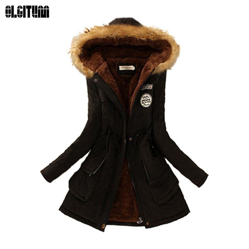 Winter women coat 2018 Women's Parka Casual Outwear Military Hooded fur Coat Down Jackets Winter Coat for Female CC001