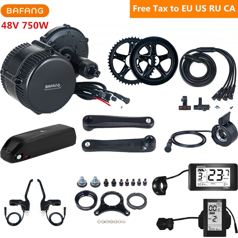 48 v 750 watt Bafang 8fun BBS02B Mitte Antrieb Motor Electric Bike Conversion Kit Mit 48 v 17AH Lithium Ebike batterie C961 C965 Display