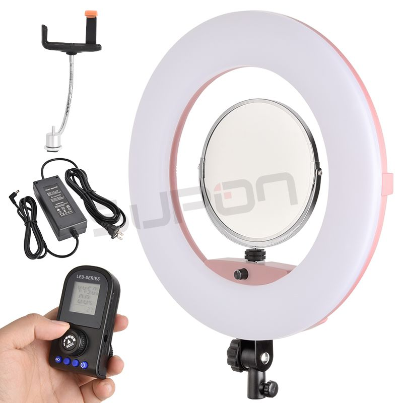 SUPON Selfie Ring Light White/Black/Pink Color FE-480II 3200K-5500K Dimmable Camera Photo/Studio/Phone/Video 96W LED Light Lamp