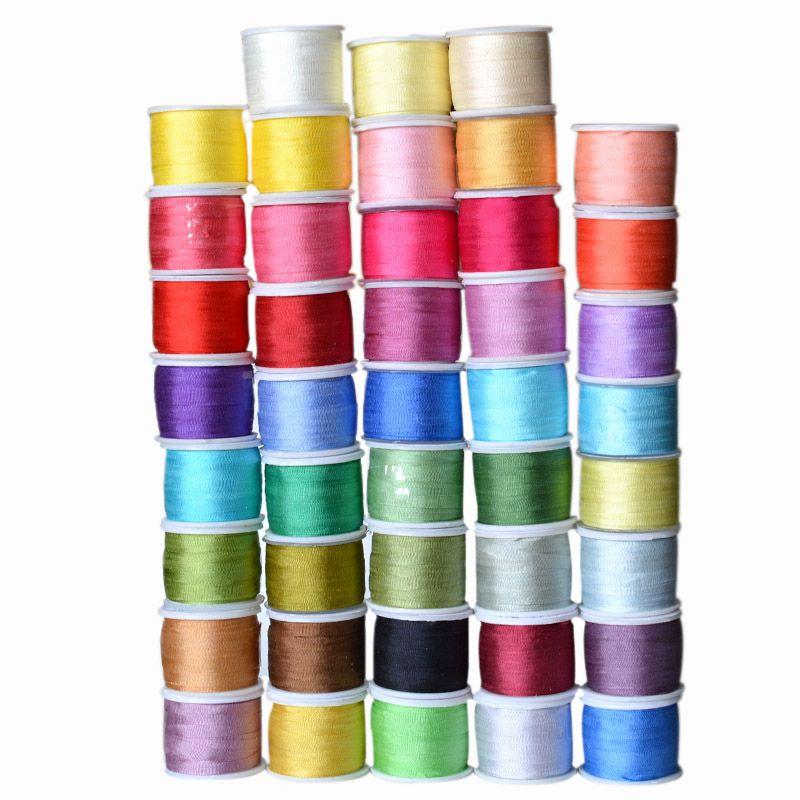 Couleurs chaudes, 7mm 1/4 pouce de large 100% pur ruban de soie de mûrier pour broderie artisanat Double face mince taffetas garniture de soie