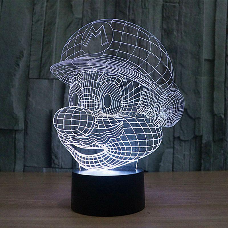 Livraison gratuite changement de couleur 3D dessin animé jeu Super Mario LED veilleuses avec câble USB de LED lampe d'ambiance pour enfant jouet