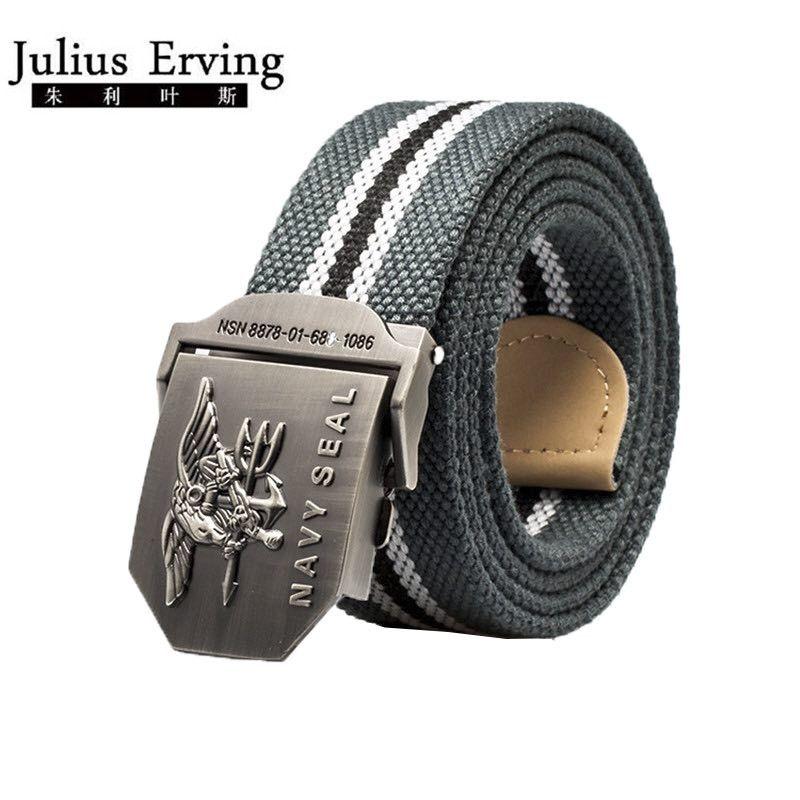 2017 marque hommes ceinture marine joint métal lisse boucle rayé toile ceinture tricot sangle militaire ceintures aigle taille Cinto unisexe