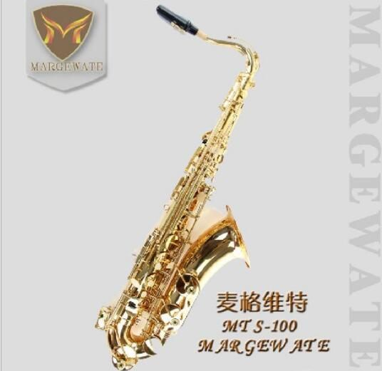 MARGEWATE Brand Gold Saxophone Teonr MTS-100 Gold Lacquer Brass Instruments Bb Tenor Sax Mouthpiece with gloves,reeds,case