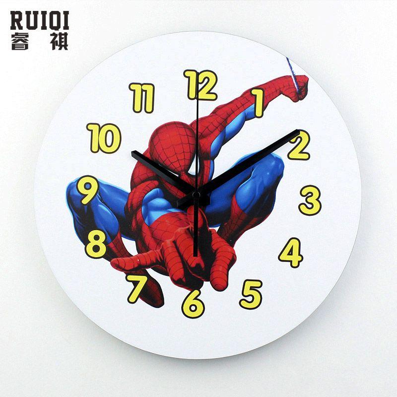 Spider man bande dessinée muette horloge murale sûr mur montres décor à la maison d'enfants salon mur horloges 3d enfants chambre horloge montre cadeau
