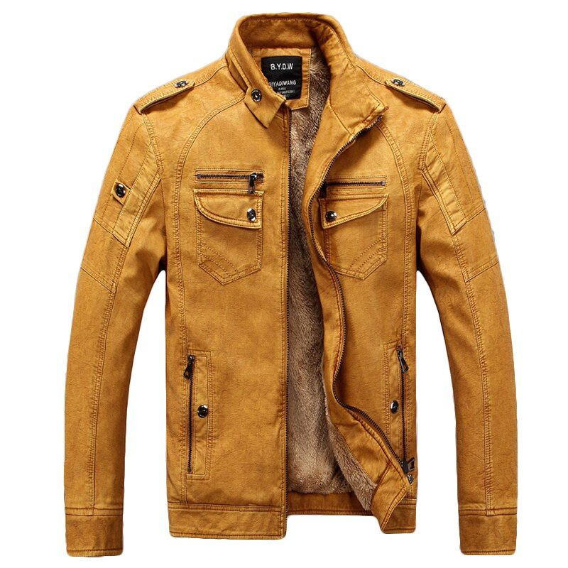 Male Motorcycle Fashion Leather Jacket Men Winter Pilot Leather Jackets And Coats Biker Mantel Mens Faux Fur Coat Brand Clothing