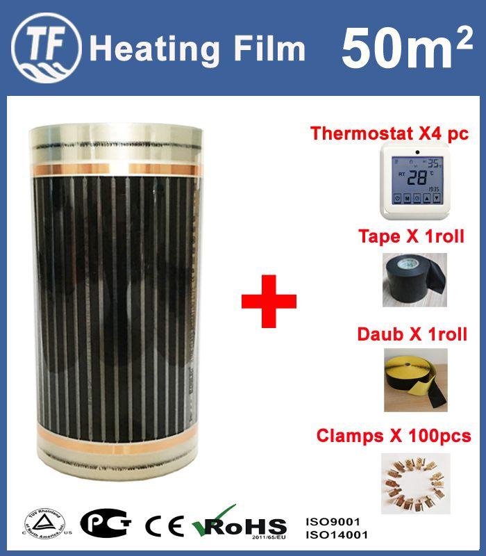 50M2 Fernen infrarot Elektrische Boden Heizung Matte Wärme Film 220 W/m2 Mit Thermostat 220 V/240 V 50Hz-60Hz