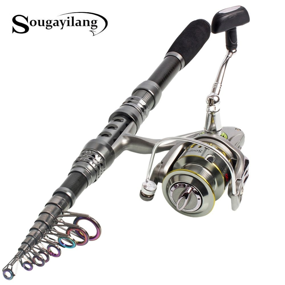 Sougayilang 1.8-3.3m Fishing Rod and Reel Best Telescopic Carbon Fiber Fishing Pole Olta Carp Fishing Rod with Spinning Reel Set