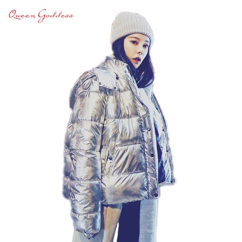 2018 new arrival fashion style shine winter and spring down jacket Metal color thickening outwear with hooded warm casual coat