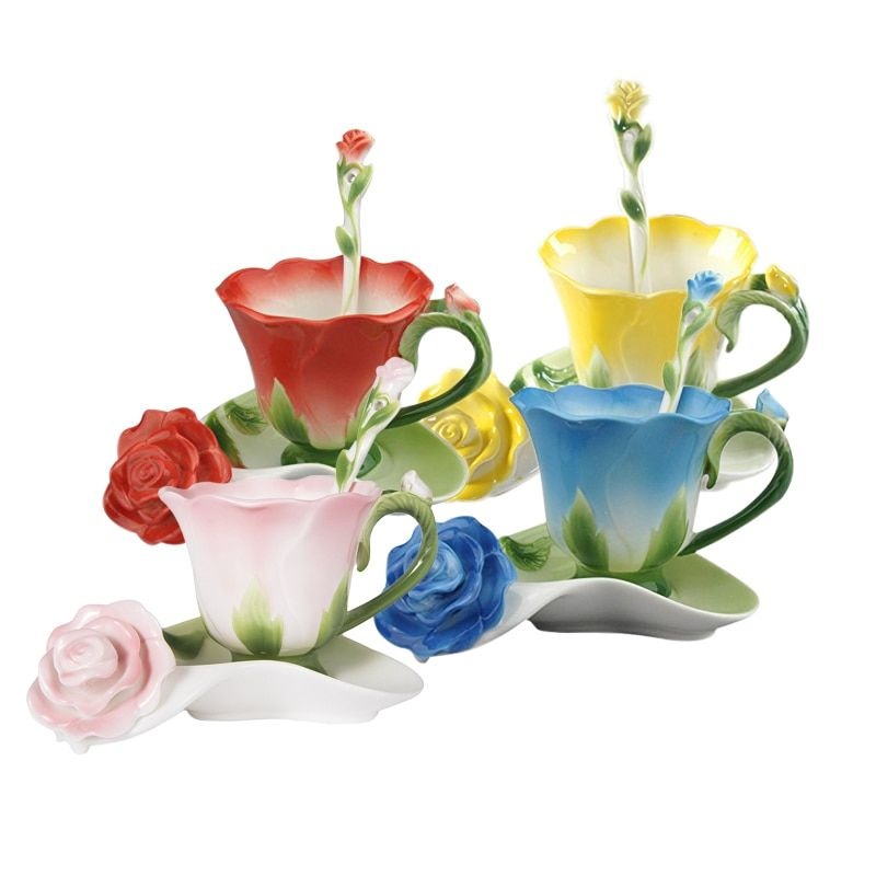 Best 3D Rose Shape Flower Enamel Ceramic Coffee Tea Cup and Saucer Spoon High-grade Porcelain Cup Creative Valentine Gift Design
