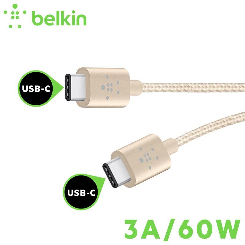 1,8 mt 60 Watt/3A Neue Ankunft Belkin Typ-C USB-C zu USB-C Kabel Gebühr Sync für Neue MacBook Pro für Huawei P10 Taube 9 F2CU041