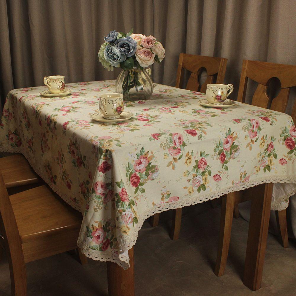Nappe en coton Beige CURCYA pour mariage Style campagnard fleurs Roses imprimé thé Table basse couvre carré rectangulaire
