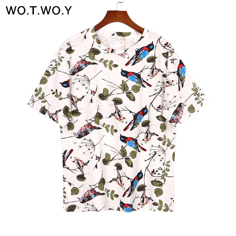 WOTWOY Women 2017 Summer Korean Style Animal Bird Printing T Shirt Knitted Short-Sleeve Casual T-shirt Woman Tops Tee Cotton 257