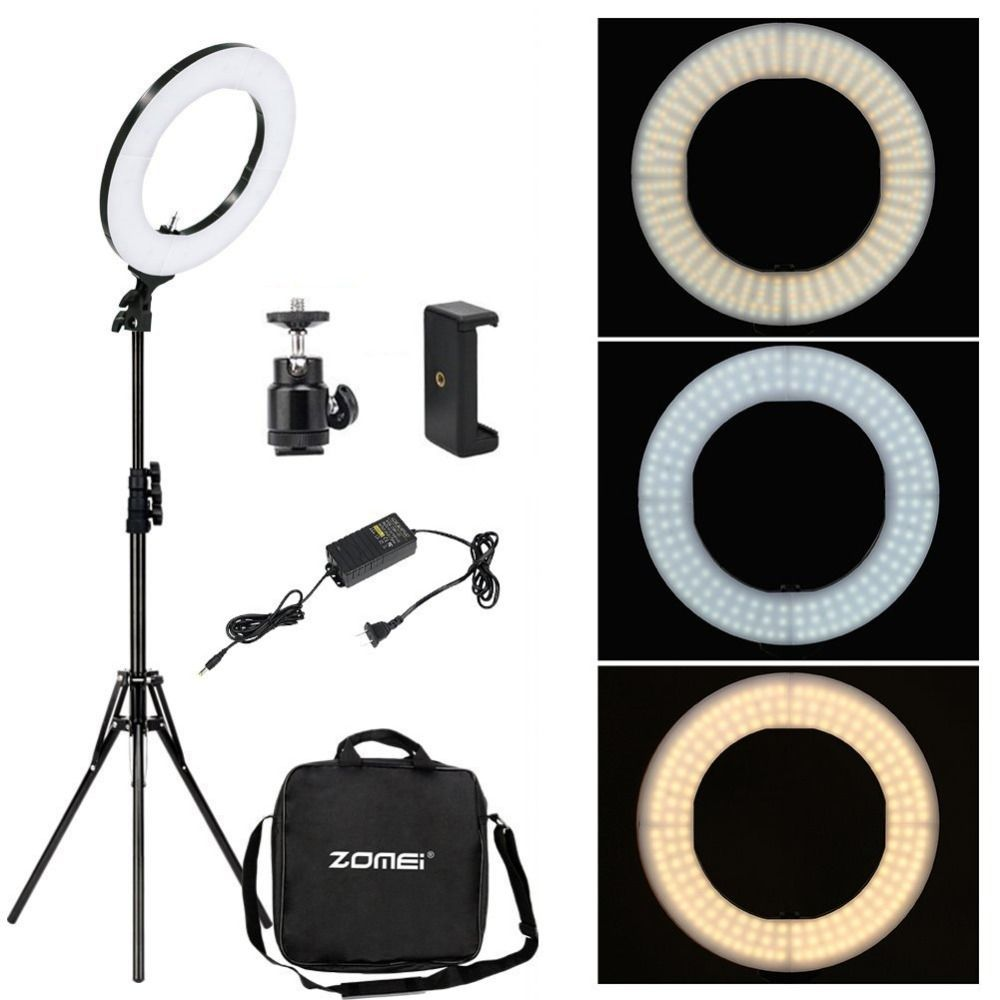 Zomei Dimmable Photography Photographic Studio Ring Light 3200-5600K LED <font><b>Lighting</b></font> Phone Adapter Makeup For Live Broadcast Video