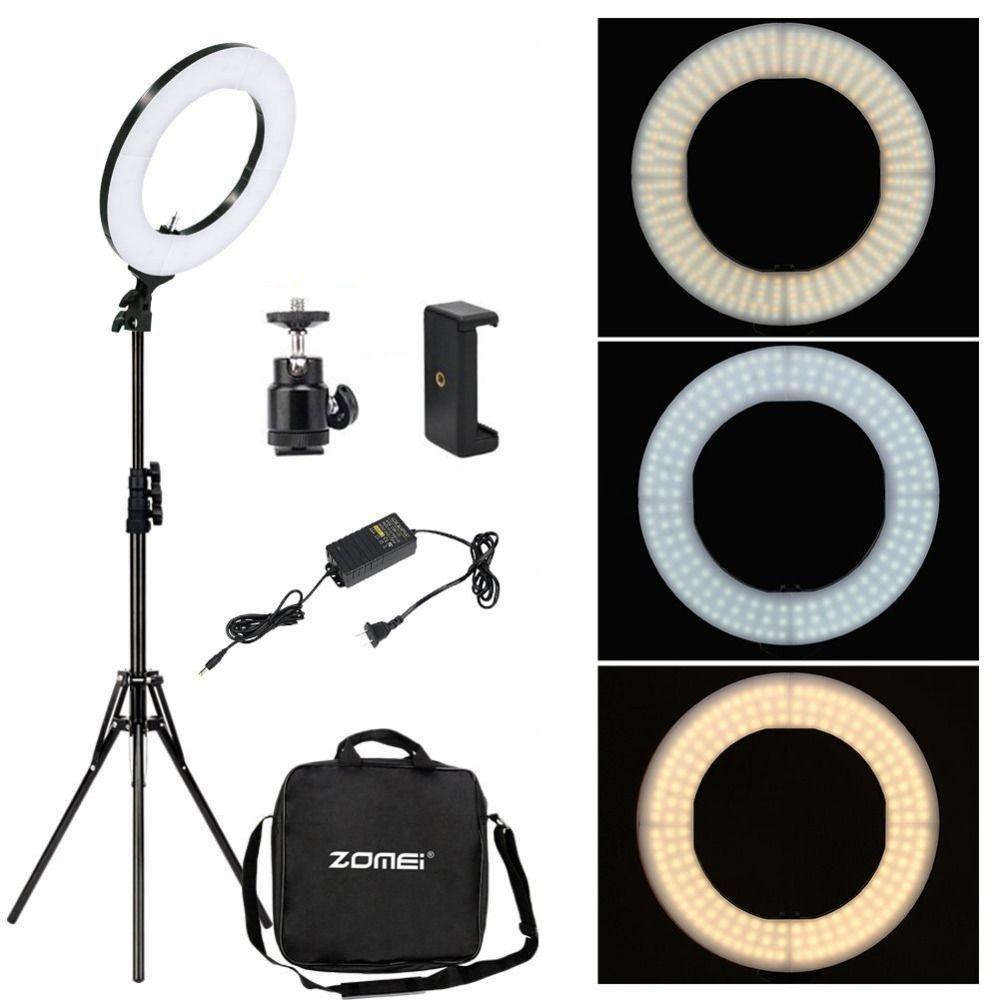 Zomei Dimmable photographie photographique Studio anneau lumière 3200-5600 K LED éclairage téléphone adaptateur maquillage pour la vidéo de diffusion en direct