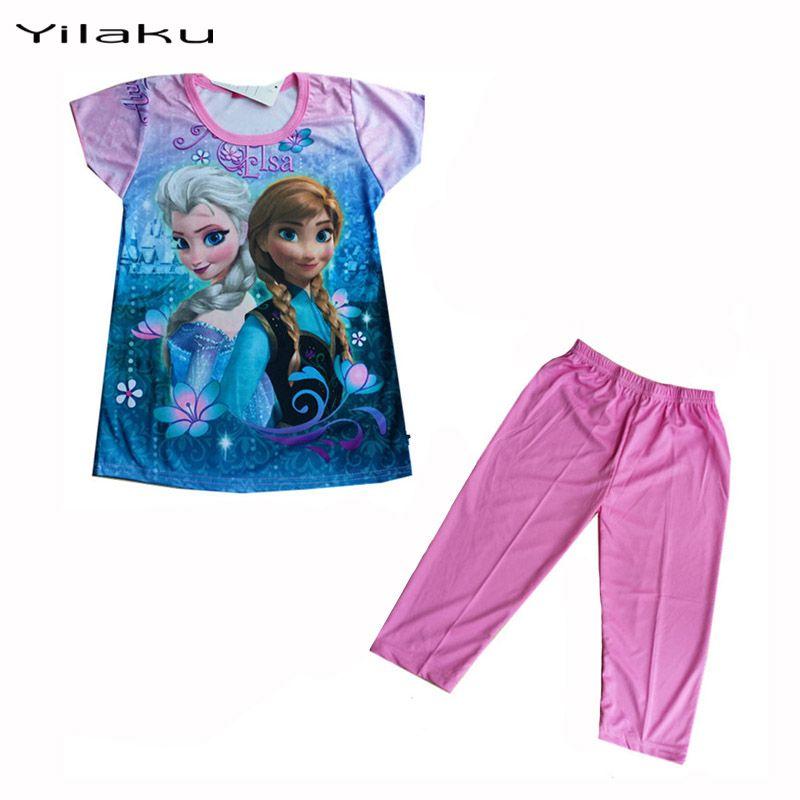 Yilaku fille vêtements ensembles filles d'été Elsa Anna enfants dessin animé reine des neiges bébé fille ensembles CK001