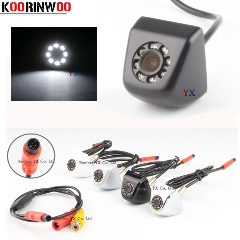 Koorinwoo CCD HD Vidéo vue Arrière de Voiture Caméra Caméra Frontale 8 led Lumière Nuit vision Parking Système Noir/blanc Inverse pour sûr