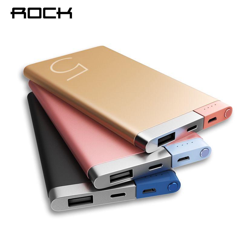 ROCK Puissance Banque 5000 Mah Portable Chargeur Double Ports D'entrée Powerbank Batterie Externe pour iPhone Samsung Xiaomi Métal Alliage