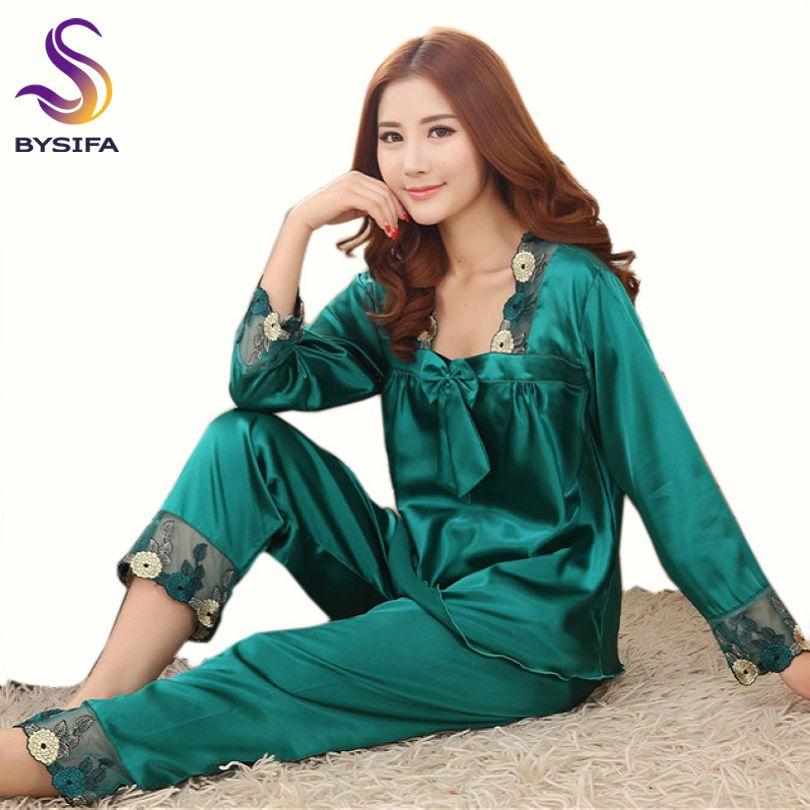 [BYSIFA] été dames chemise de nuit pyjamas ensemble maison vêtements sommeil salon femmes vert foncé broderie vêtements de nuit en soie à manches longues