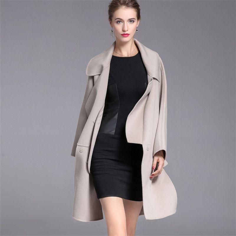 Dicke Warme Doppel Seite Kaschmir Frauen Woolen Mäntel 2018 Hohe Qualität Herbst Winter Europäischen Stil Lange Wolle Mantel V1020