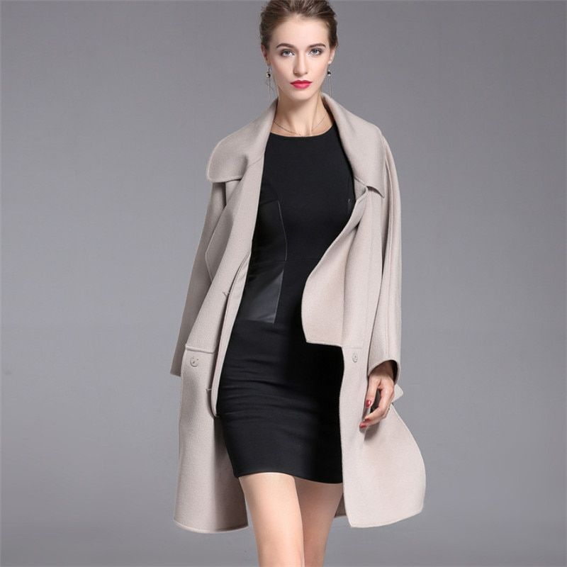 Thick Warm Double Side Cashmere Women Woolen Coats 2018 High Quality Autumn Winter European Style Long Wool Coat V1020
