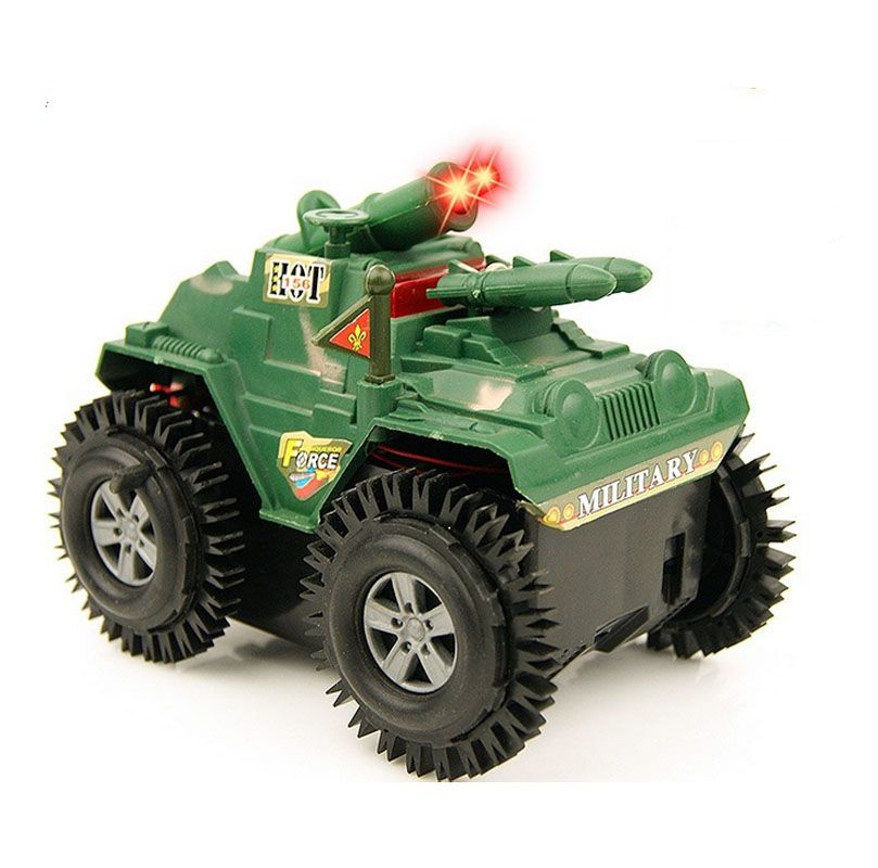 Funny Electric Tumbling Tank Stunt Car Flashing Military Model Toys Gift for Children Boys Interactive Armored Vehicles Toys