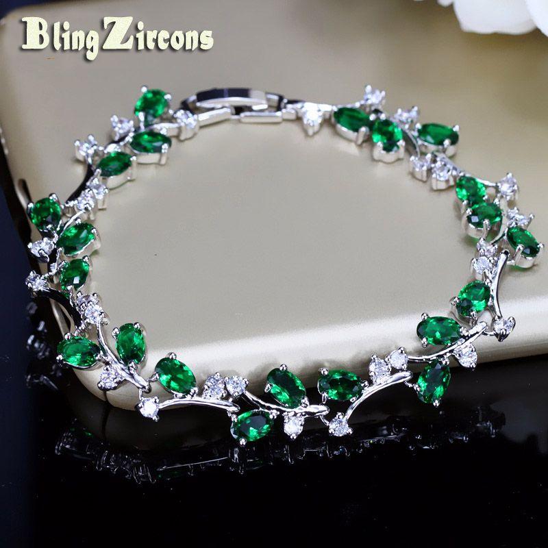 BlingZircons Belle Ovale Ronde Zircon Cubique Cristal Couleur Argent Royal Bijoux Vert CZ Pierre De Tennis Bracelets Pour Femmes B015