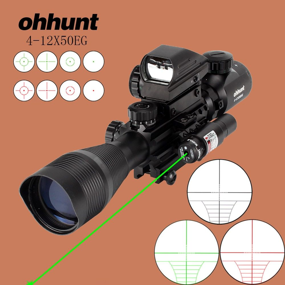 ohhunt Hunting Airsofts Riflescope 4-12X50EG Tactical Air Gun Red Green Dot Laser Sight Scope Holographic Optics Rifle Scope