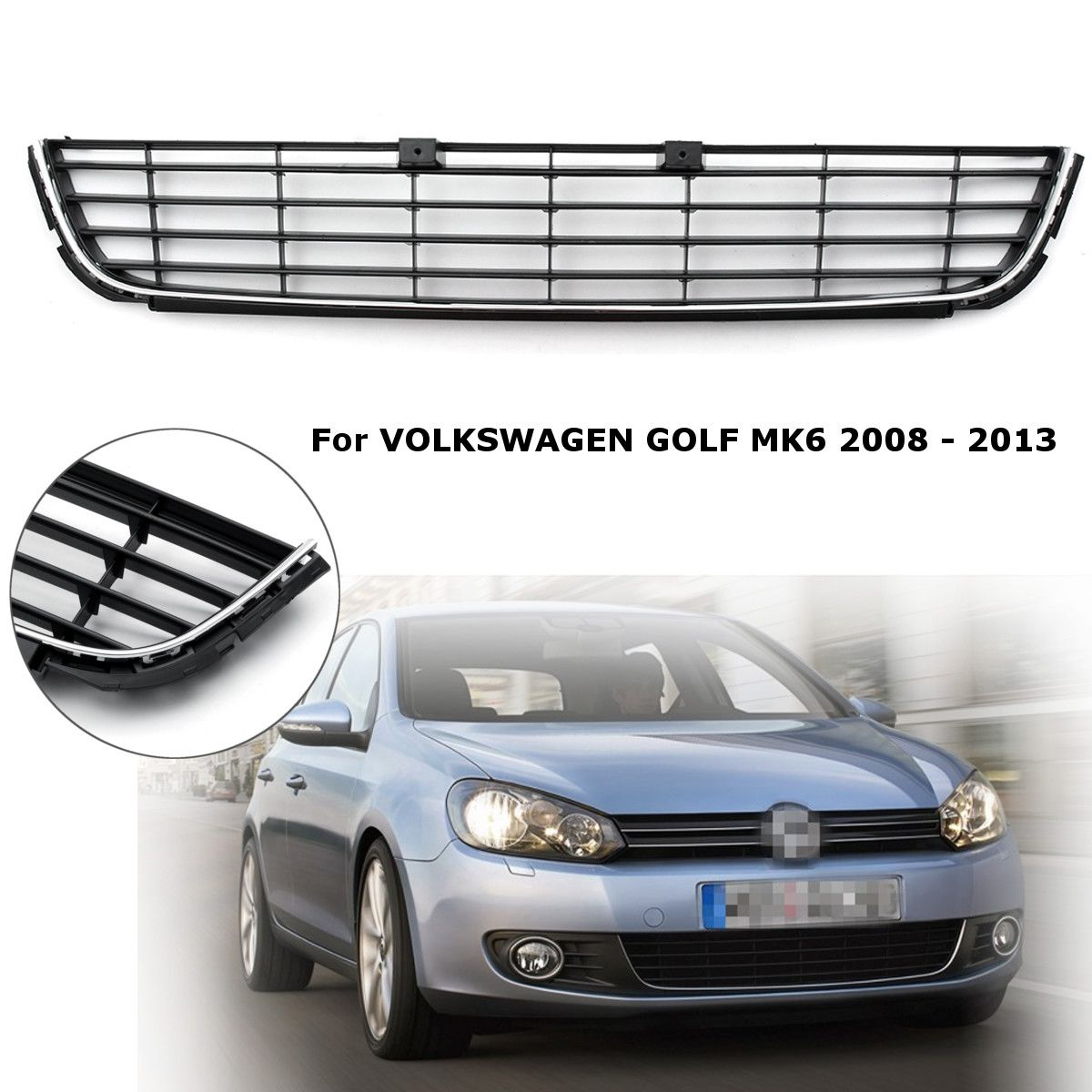 for VW GOLF MK6 2008 2009 2010 21011 2012 2013 Car Front Lower Center Bumper Grille Panel Chrome Trim