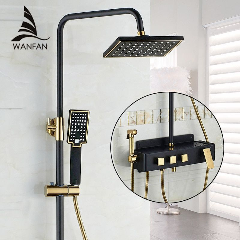 Shower Faucet Brass Black Wall Mounted Bathtub Faucet Rain Shower Head Square Handheld Slide Bar Bathroom Mixer Tap Set JP5036P