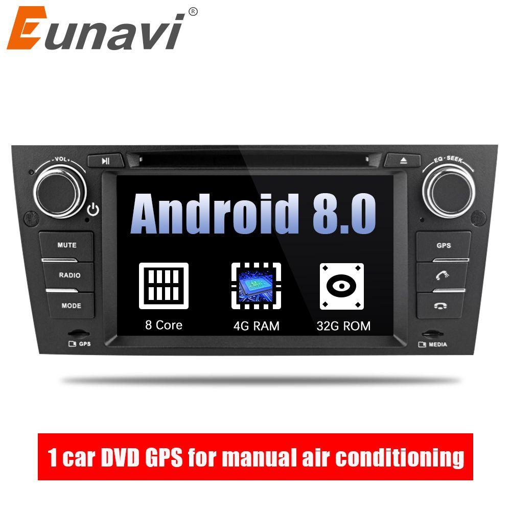 Eunavi 7'' Octa Core 1 Din Android 8.0 Car DVD GPS Navi For 3 Series BMW E90 E91 E92 E93 318 320 325 For Manual Air Conditioning