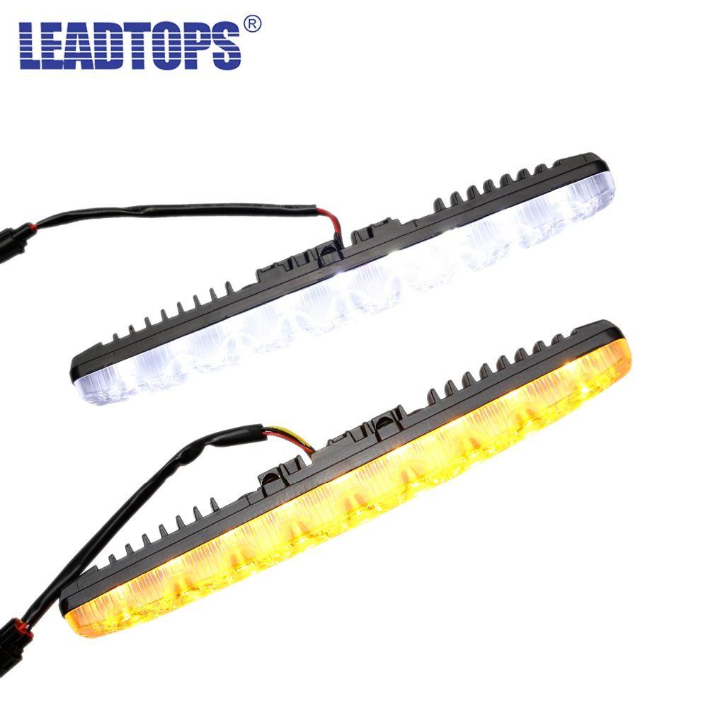 1Pair Universal Turn Signal Light White To Yellow Flow  9 LED High Power DRL Daytime Running Light  12V 6000K Waterproof BJ