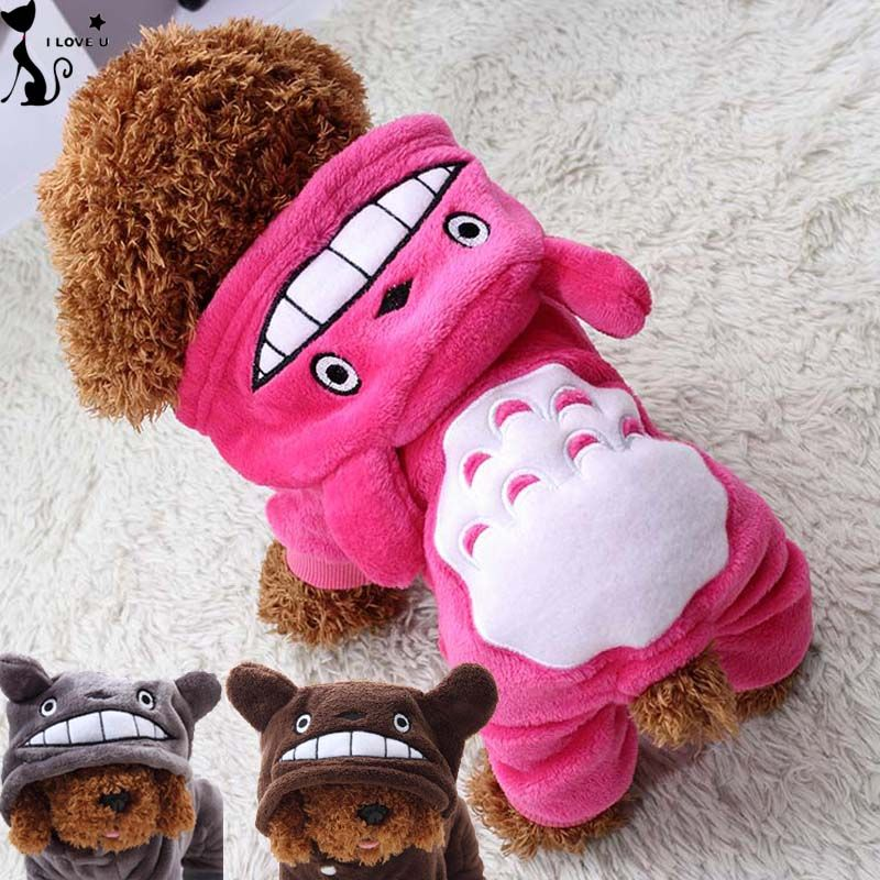 Soft Fleece Pet Costume Dogs Clothes Cartoon Dog Jumpsuit Overalls Clothing Winter Warm Puppy Novelty Apparel Size XS-XXL 110