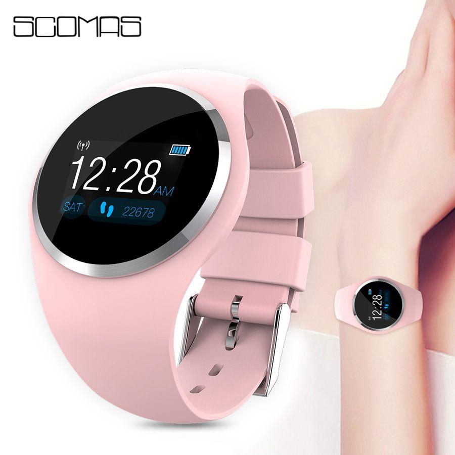 SCOMAS Bluetooth Lady Montre Smart Watch Mode Femmes Moniteur de Fréquence Cardiaque Fitness Tracker Smartwatch APP Soutien Pour Android IOS