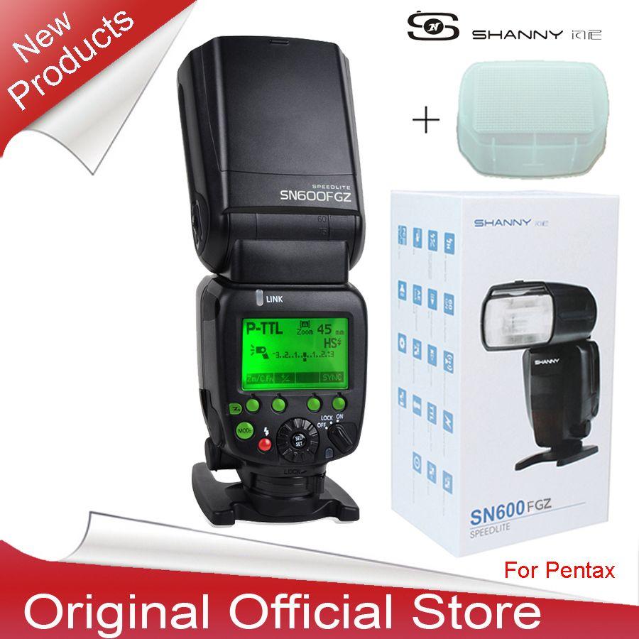 Nueva llegada shanny sn600fgz p-ttl gn60 1/8000 s esclavo flash de la cámara speedlite de destello para pentax k100d k200d k100 k-7 kx k-r k-5 K-01