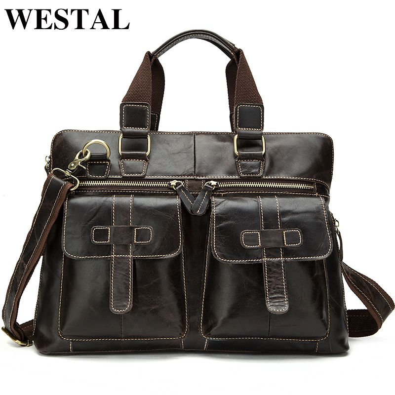 WESTAL Messenger Bag Men Genuine Leather Men's Shoulder Bags Business Briefcase Crossbody Bags Handbags Leather Laptop Bag Male