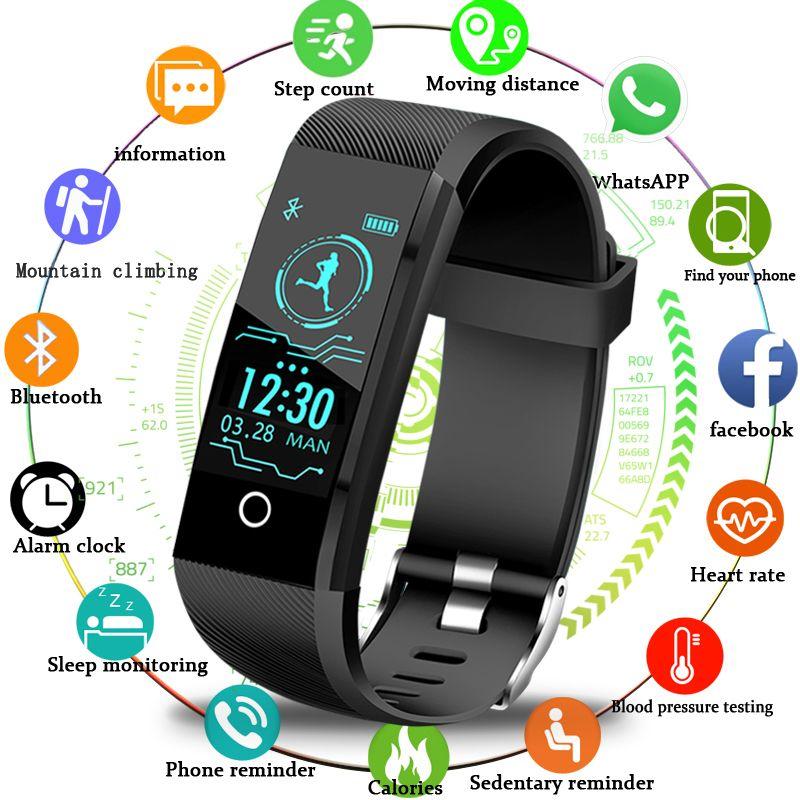 2019New Smartwatch Hommes traqueur de remise en forme Podomètre montre de sport La Pression Artérielle moniteur de fréquence cardiaque Femmes montre connectée pour ios Android