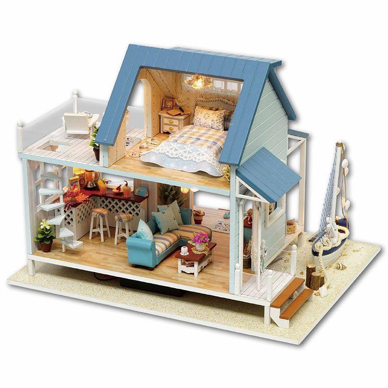 Diy Miniature En Bois Maison de Poupée Meubles Kits Jouets Faits À La Main Artisanat Miniature Modèle Kit DollHouse Jouets Cadeau Pour ChildrenA037