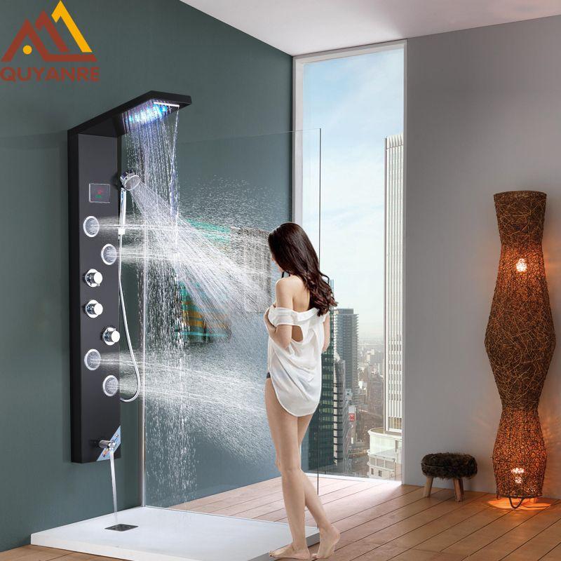 Quyanre Schwarz Wasserkraft Digital Display Dusche Panel Spalte LED Regen Wasserfall Dusche 2-weg Spa Jets Bad Dusche Mixer
