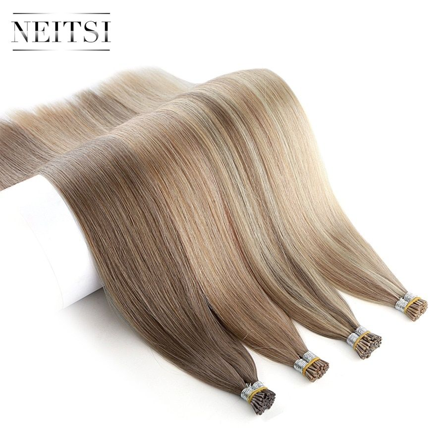 Neitsi Straight Human Pre Bonded Fusion Hair I Tip Stick Keratin Double Drawn Remy Hair Extension 1.0g/s 100g 20