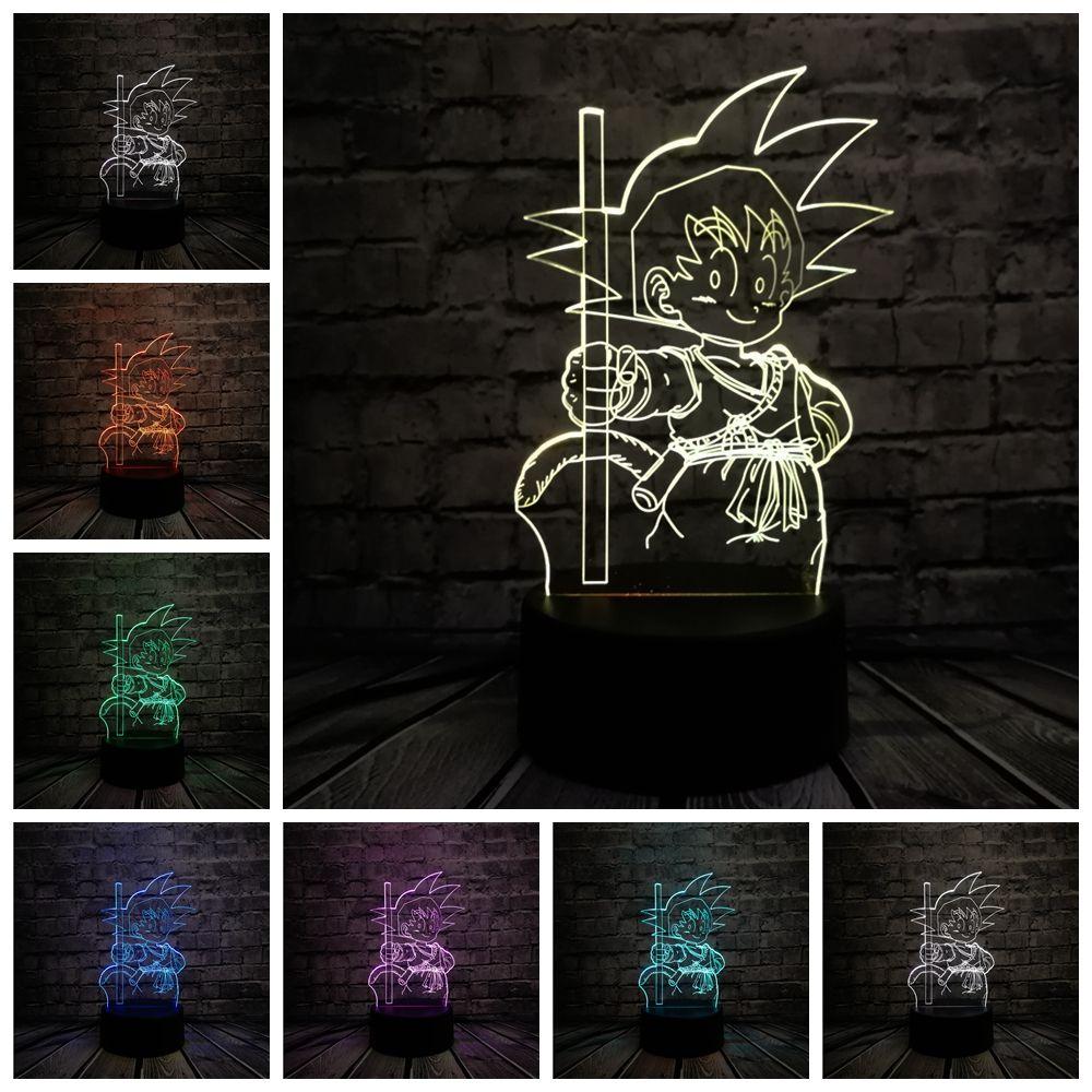 2018 3D Janpan dessin animé Super Goku singe USB lampe à LED 7 Dragon Ball coloré humeur ampoule veilleuses enfants jouet enfant chambre décor