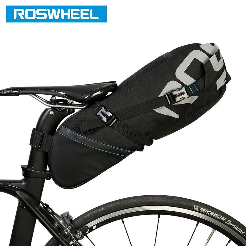 ROSWHEEL 131414 <font><b>Bicycle</b></font> Seatpost Bag Bike Saddle Seat Storage Pannier Cycling MTB Road Rear Pack Water tight Extendable 8L 10L