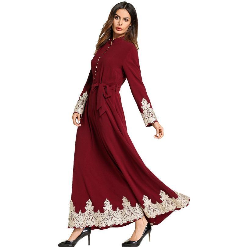 Wholesale Adult lace stitching chiffon Abayas 2018 Real Ropa Mujer And Abayas Muslim Female Islamic Ramadan prayer Dress Wj2256