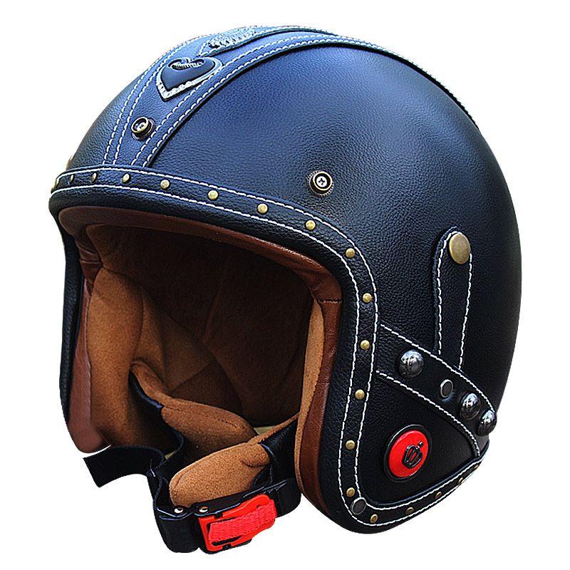Vcoros Echtem Leder vintage motorradhelme 3/4 offener moto roller retro helme personalisierte handwerk leder helm