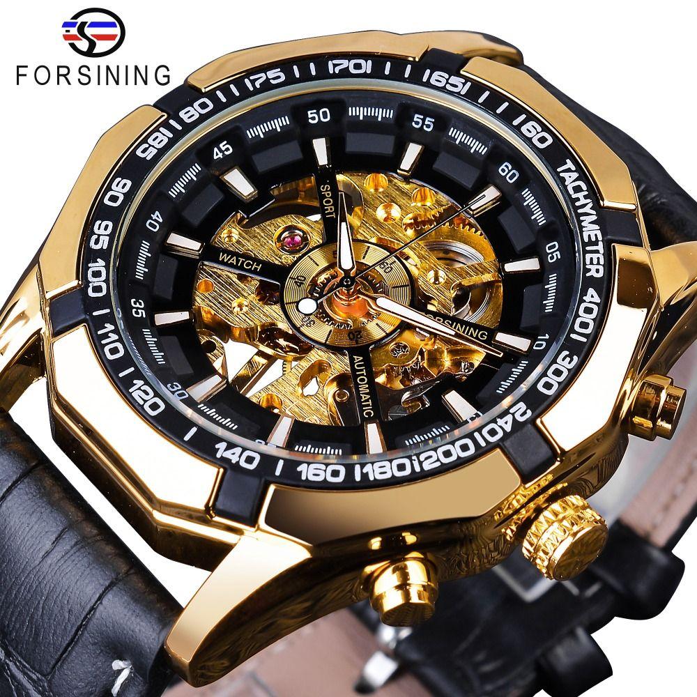Forsining Waterproof Golden Black Skeleton Clock Two Button Decoration Mechanical Wrist Watches for Men Black Genuine Leather