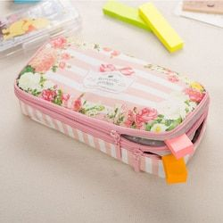 Korean Waterproof Large Capacity Romantic Floral Garden Double Layers Pencil Case Pen Holder Pouch Stationery School Supplies