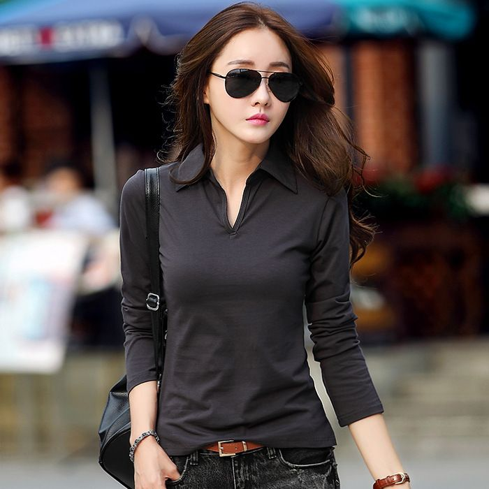 New 2017 Polo Women Long Sleeve 7 Colors Polo Shirt For Women S-XXL Cotton Polos Mujer Autumn Winter Tops Tees Ladies Polo