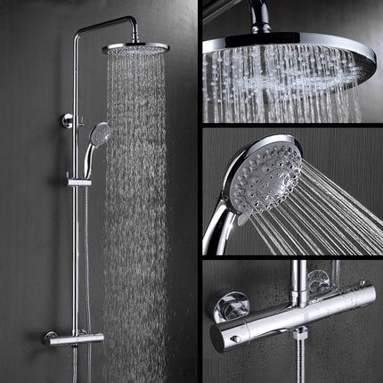 Bathroom Chrome Finish Air Injection 8 inch Wall Mounted Thermostatic Rain Shower Set with ABS Round Showerhead Handheld Shower